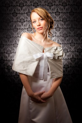 """Simone"" [C302] - wrap: silver dupioni silk with fleece lining & gros grain ribbon tie, rosette: dupioni silk with white fresh water pearl ($169)"