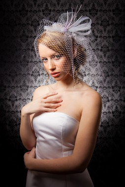 """Veronica"" [HP203] - white veiling, lilac glass beads, lavender coque feathers ($129)"