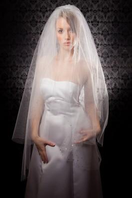 """Natalya"" [V103] - white shimmer tulle with lavender preciosa crystals ($129)"