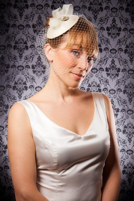 """Serena"" [HP206] - cream veiling, ivory horse hair braid, mother of pearl button, blush coloured freshwater pearls ($139)"