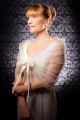 """""""Cassandra"""" [C303] - cream shimmer tulle, irridescent sequins, cream satin riibon tie ($109)"""