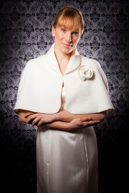 """Lara"" [C306] - cream wool/cashmere blend with bemburg lining , rosette: cream wool/cashmere blend ($179)"